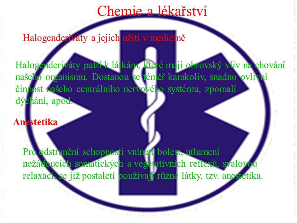 Chemie a lékařství Halogenderiváty a jejich užití v medicíně Halogenderiváty patří k látkám, které mají obrovský vliv na chování našeho organismu. Dos