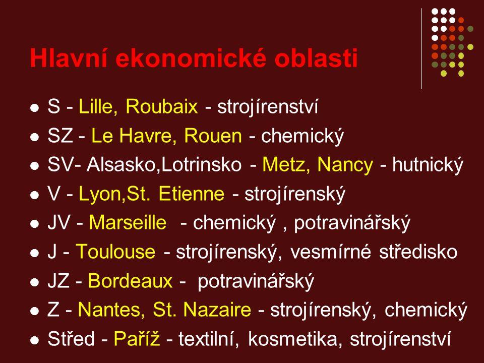 Hlavní ekonomické oblasti S - Lille, Roubaix - strojírenství SZ - Le Havre, Rouen - chemický SV- Alsasko,Lotrinsko - Metz, Nancy - hutnický V - Lyon,St.
