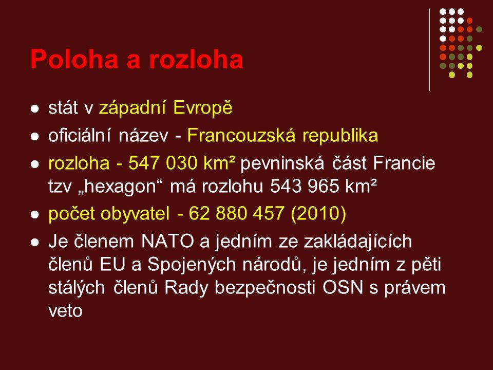 """Poloha a rozloha stát v západní Evropě oficiální název - Francouzská republika rozloha - 547 030 km² pevninská část Francie tzv """"hexagon má rozlohu 543 965 km² počet obyvatel - 62 880 457 (2010) Je členem NATO a jedním ze zakládajících členů EU a Spojených národů, je jedním z pěti stálých členů Rady bezpečnosti OSN s právem veto"""