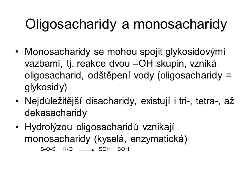 Oligosacharidy a monosacharidy Monosacharidy se mohou spojit glykosidovými vazbami, tj. reakce dvou –OH skupin, vzniká oligosacharid, odštěpení vody (