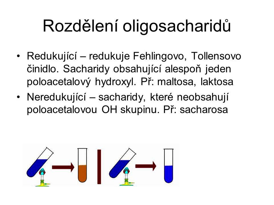 Rozdělení oligosacharidů Redukující – redukuje Fehlingovo, Tollensovo činidlo. Sacharidy obsahující alespoň jeden poloacetalový hydroxyl. Př: maltosa,