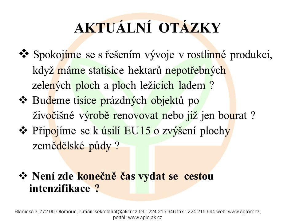 Blanická 3, 772 00 Olomouc, e-mail: sekretariat@akcr.cz tel.: 224 215 946 fax.: 224 215 944 web: www.agrocr.cz, portál: www.apic-ak.cz AKTUÁLNÍ OTÁZKY  Spokojíme se s řešením vývoje v rostlinné produkci, když máme statisíce hektarů nepotřebných zelených ploch a ploch ležících ladem .