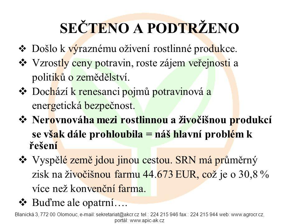 Blanická 3, 772 00 Olomouc, e-mail: sekretariat@akcr.cz tel.: 224 215 946 fax.: 224 215 944 web: www.agrocr.cz, portál: www.apic-ak.cz SEČTENO A PODTRŽENO  Došlo k výraznému oživení rostlinné produkce.