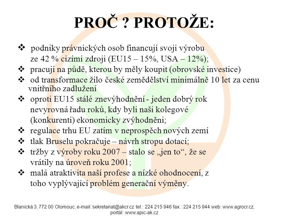 Blanická 3, 772 00 Olomouc, e-mail: sekretariat@akcr.cz tel.: 224 215 946 fax.: 224 215 944 web: www.agrocr.cz, portál: www.apic-ak.cz PROČ .