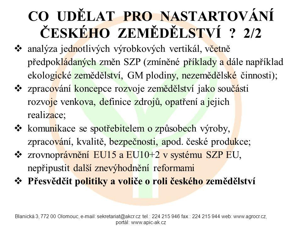 Blanická 3, 772 00 Olomouc, e-mail: sekretariat@akcr.cz tel.: 224 215 946 fax.: 224 215 944 web: www.agrocr.cz, portál: www.apic-ak.cz CO UDĚLAT PRO NASTARTOVÁNÍ ČESKÉHO ZEMĚDĚLSTVÍ .
