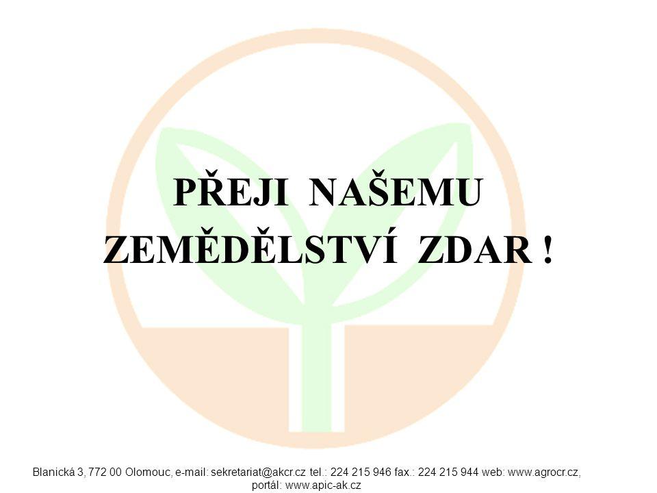 Blanická 3, 772 00 Olomouc, e-mail: sekretariat@akcr.cz tel.: 224 215 946 fax.: 224 215 944 web: www.agrocr.cz, portál: www.apic-ak.cz PŘEJI NAŠEMU ZEMĚDĚLSTVÍ ZDAR !