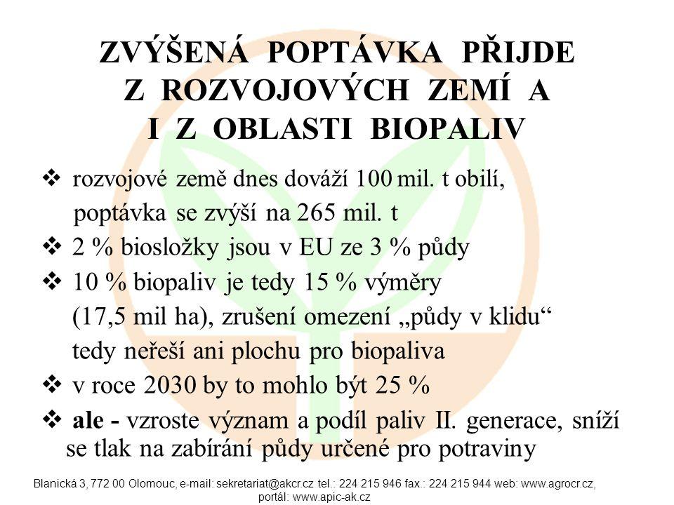 Blanická 3, 772 00 Olomouc, e-mail: sekretariat@akcr.cz tel.: 224 215 946 fax.: 224 215 944 web: www.agrocr.cz, portál: www.apic-ak.cz ZVÝŠENÁ POPTÁVKA PŘIJDE Z ROZVOJOVÝCH ZEMÍ A I Z OBLASTI BIOPALIV  rozvojové země dnes dováží 100 mil.