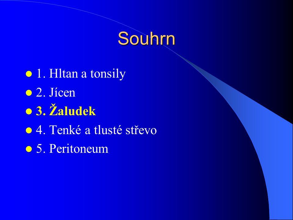 Souhrn 1. Hltan a tonsily 2. Jícen 3. Žaludek 4. Tenké a tlusté střevo 5. Peritoneum