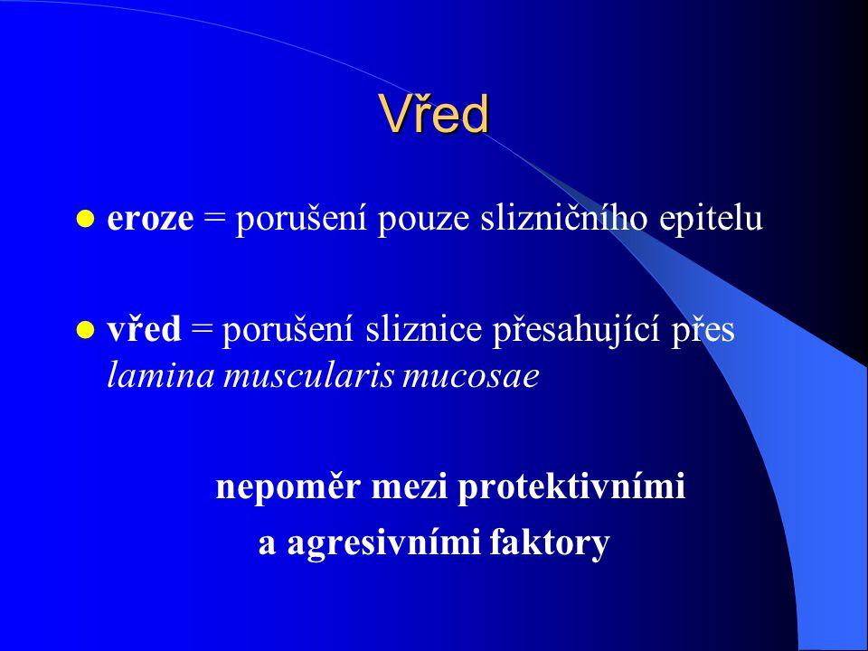 Vřed eroze = porušení pouze slizničního epitelu vřed = porušení sliznice přesahující přes lamina muscularis mucosae nepoměr mezi protektivními a agresivními faktory