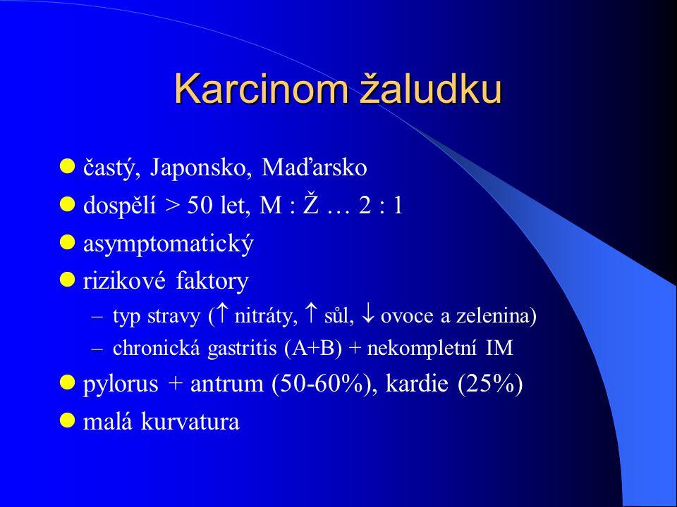 Karcinom žaludku častý, Japonsko, Maďarsko dospělí > 50 let, M : Ž … 2 : 1 asymptomatický rizikové faktory –typ stravy (  nitráty,  sůl,  ovoce a zelenina) –chronická gastritis (A+B) + nekompletní IM pylorus + antrum (50-60%), kardie (25%) malá kurvatura