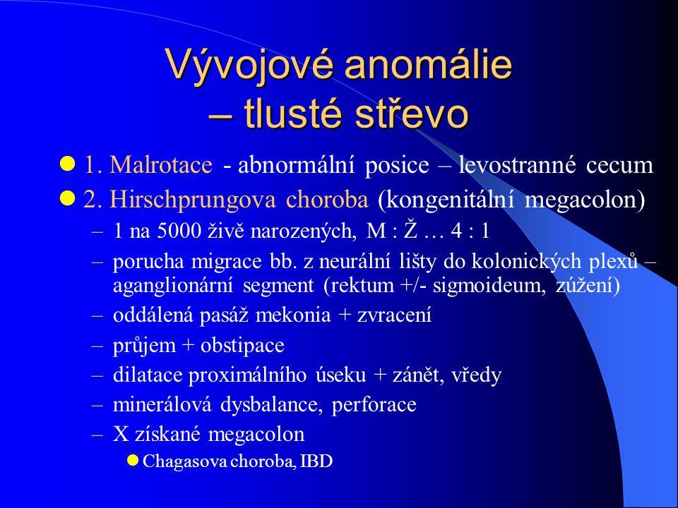 Vývojové anomálie – tlusté střevo 1.Malrotace - abnormální posice – levostranné cecum 2.