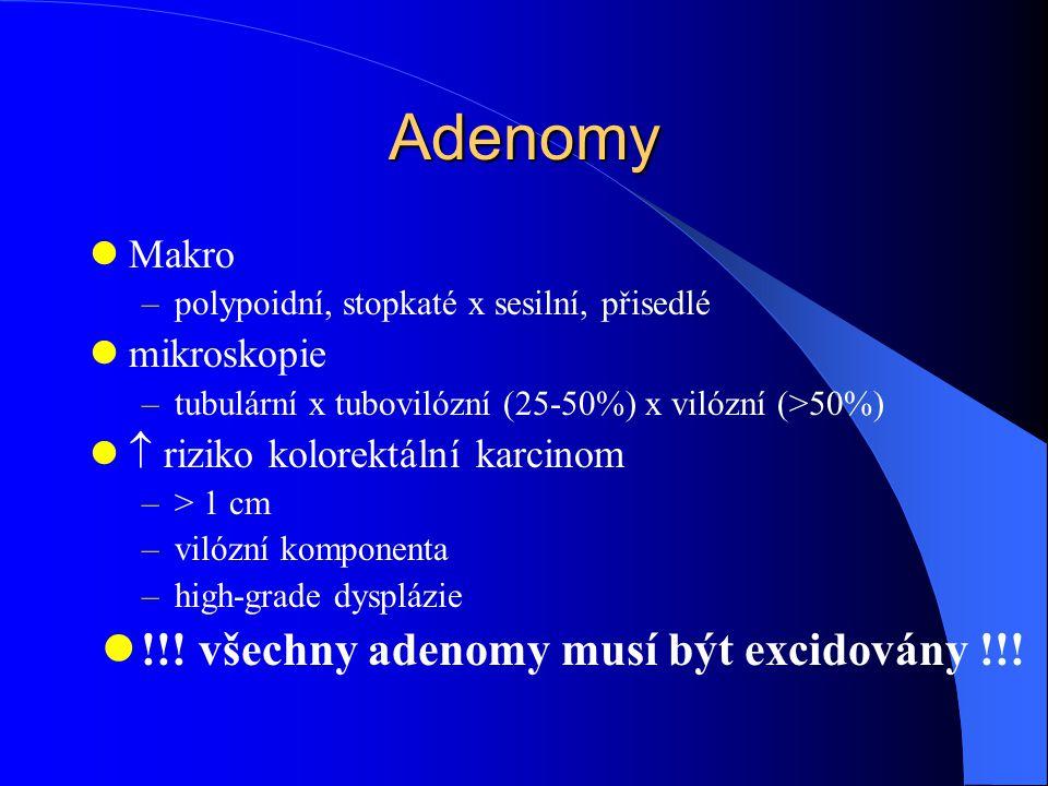 Adenomy Makro –polypoidní, stopkaté x sesilní, přisedlé mikroskopie –tubulární x tubovilózní (25-50%) x vilózní (>50%)  riziko kolorektální karcinom –> 1 cm –vilózní komponenta –high-grade dysplázie !!.