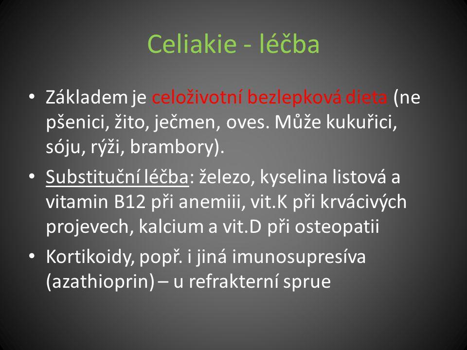 Celiakie - léčba Základem je celoživotní bezlepková dieta (ne pšenici, žito, ječmen, oves. Může kukuřici, sóju, rýži, brambory). Substituční léčba: že