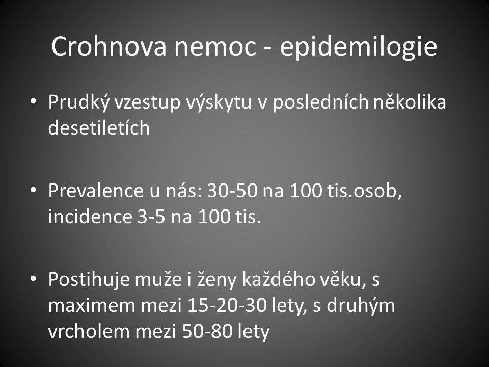 Crohnova nemoc - epidemilogie Prudký vzestup výskytu v posledních několika desetiletích Prevalence u nás: 30-50 na 100 tis.osob, incidence 3-5 na 100
