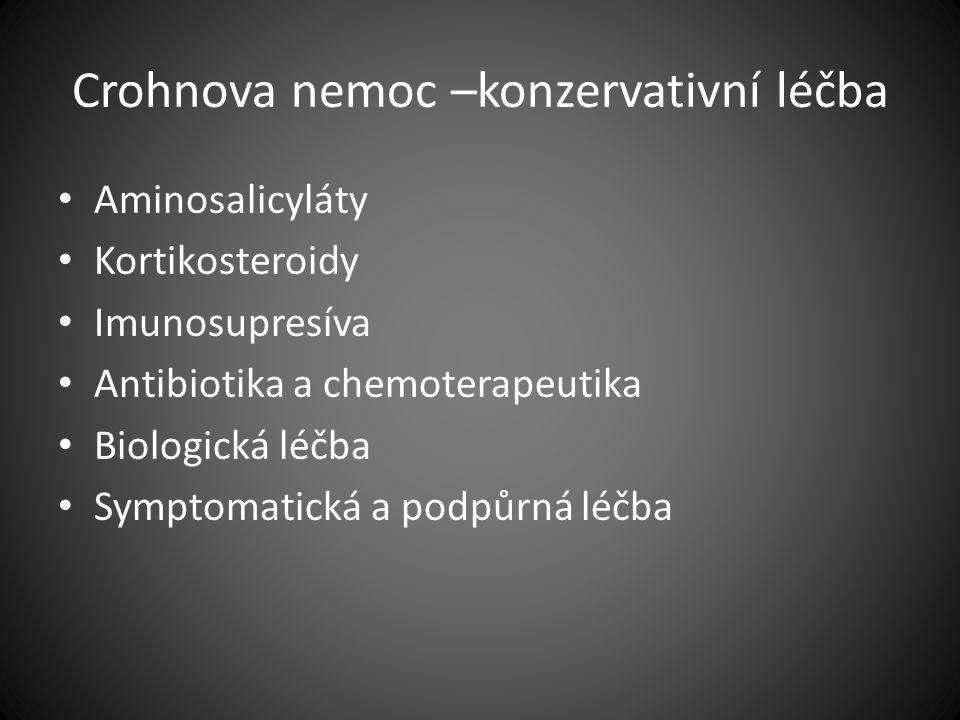Crohnova nemoc –konzervativní léčba Aminosalicyláty Kortikosteroidy Imunosupresíva Antibiotika a chemoterapeutika Biologická léčba Symptomatická a pod