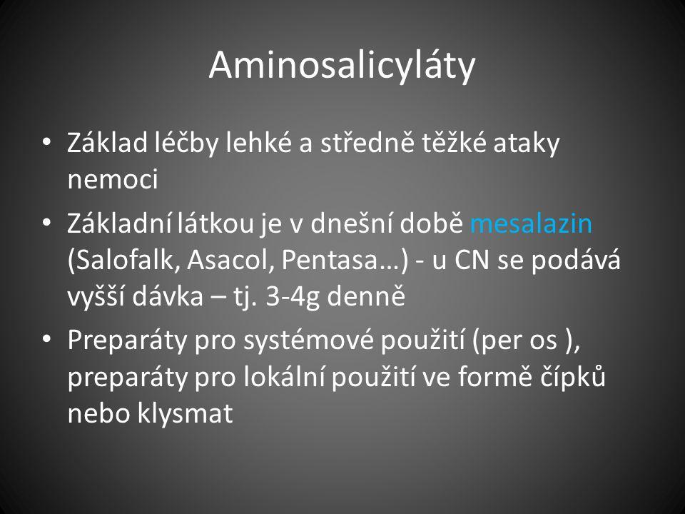 Aminosalicyláty Základ léčby lehké a středně těžké ataky nemoci Základní látkou je v dnešní době mesalazin (Salofalk, Asacol, Pentasa…) - u CN se podá