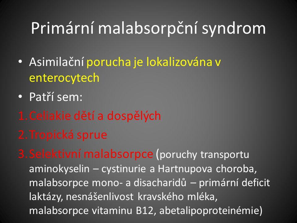 Primární malabsorpční syndrom Asimilační porucha je lokalizována v enterocytech Patří sem: 1.Celiakie dětí a dospělých 2.Tropická sprue 3.Selektivní m