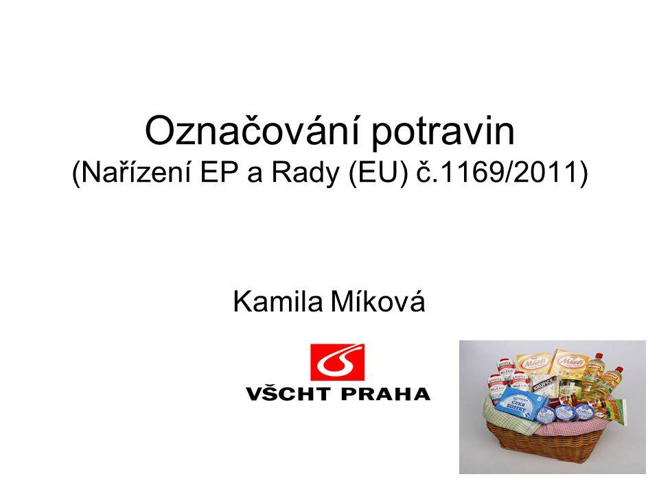 Označování balených potravin Značení – vnější obal : - dobře viditelné, čitelné - nesmazatelné, neodstranitelné - nezakryté - v češtině (kromě obchodního názvu) - nesmí uvádět v omyl - u živočišných potravin identifikační značka zdravotní nezávadnost