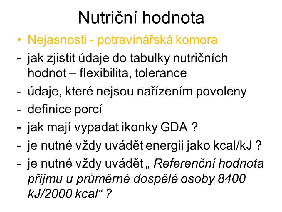 Nutriční hodnota Nejasnosti - potravinářská komora -jak zjistit údaje do tabulky nutričních hodnot – flexibilita, tolerance -údaje, které nejsou naříz
