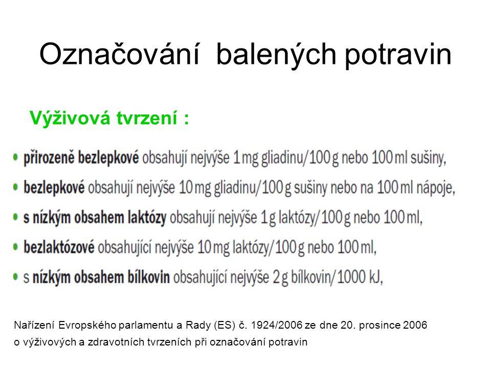 Označování balených potravin Výživová tvrzení : Nařízení Evropského parlamentu a Rady (ES) č. 1924/2006 ze dne 20. prosince 2006 o výživových a zdravo