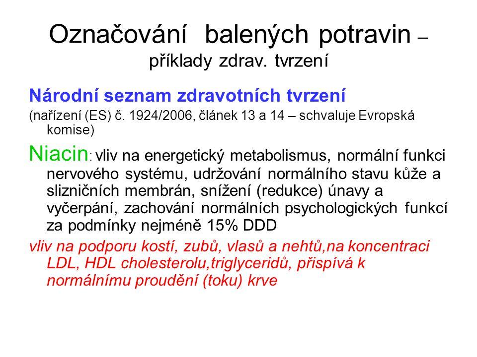Označování balených potravin – příklady zdrav. tvrzení Národní seznam zdravotních tvrzení (nařízení (ES) č. 1924/2006, článek 13 a 14 – schvaluje Evro