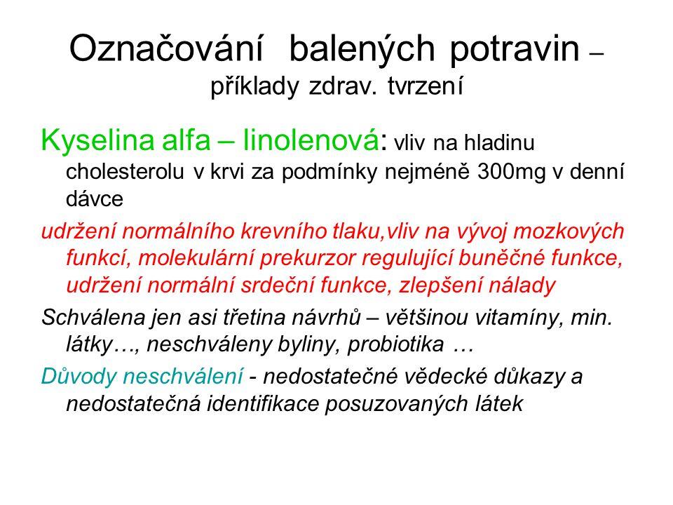 Označování balených potravin – příklady zdrav. tvrzení Kyselina alfa – linolenová: vliv na hladinu cholesterolu v krvi za podmínky nejméně 300mg v den