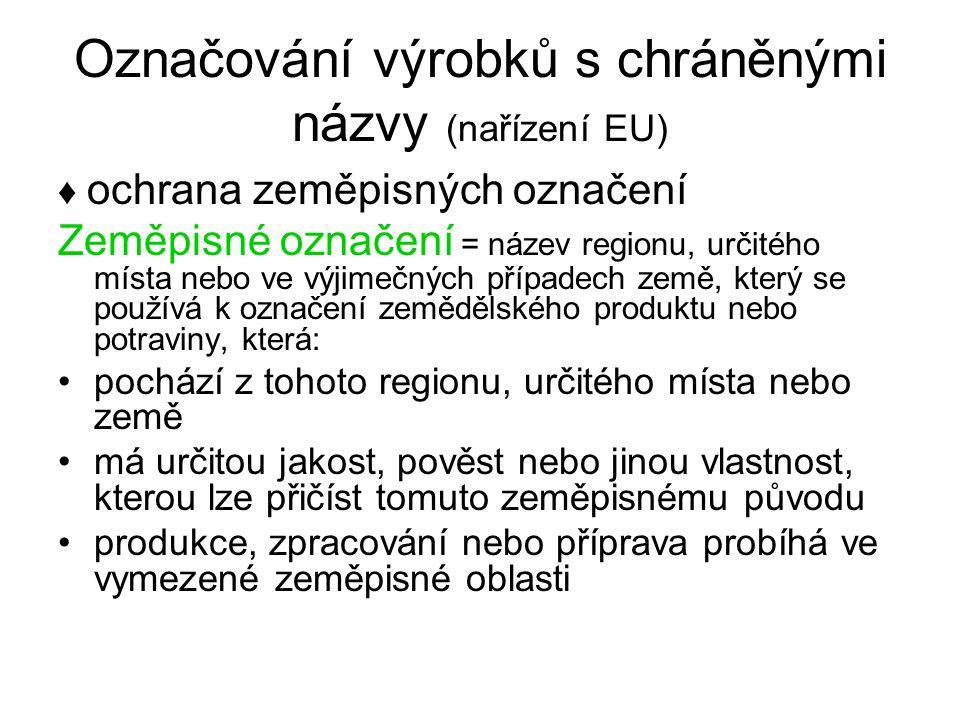 Označování výrobků s chráněnými názvy (nařízení EU) ♦ ochrana zeměpisných označení Zeměpisné označení = název regionu, určitého místa nebo ve výjimečn
