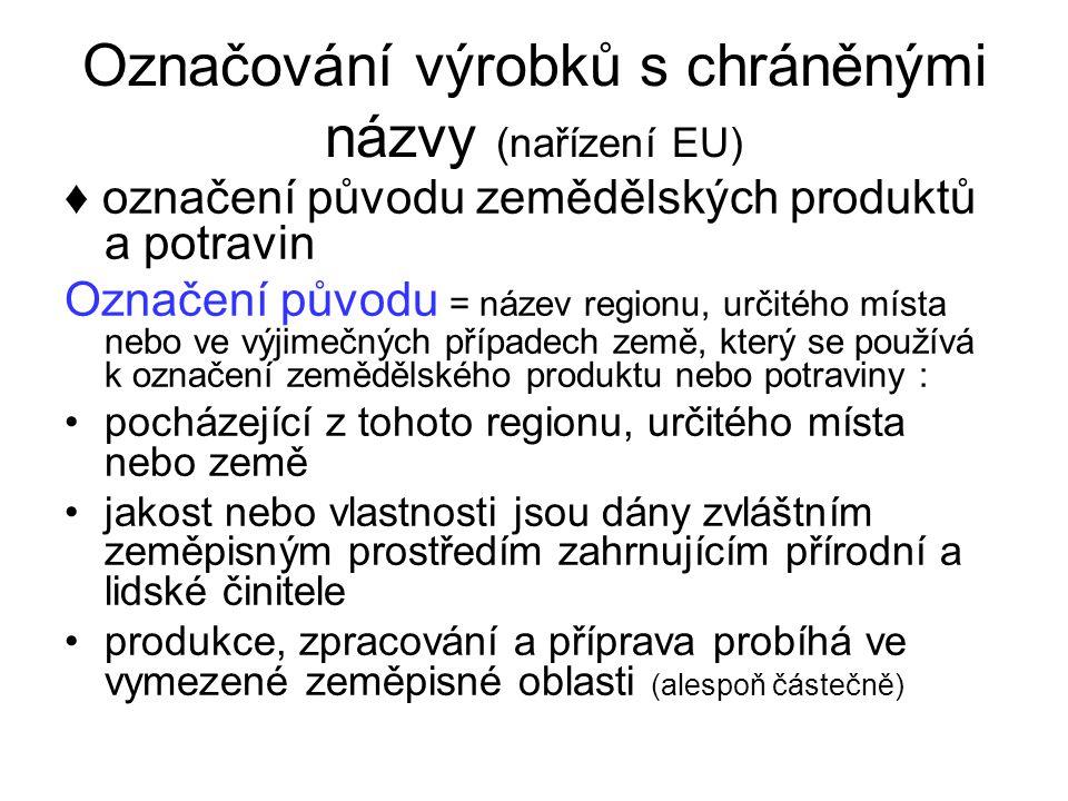 Označování výrobků s chráněnými názvy (nařízení EU) ♦ označení původu zemědělských produktů a potravin Označení původu = název regionu, určitého místa