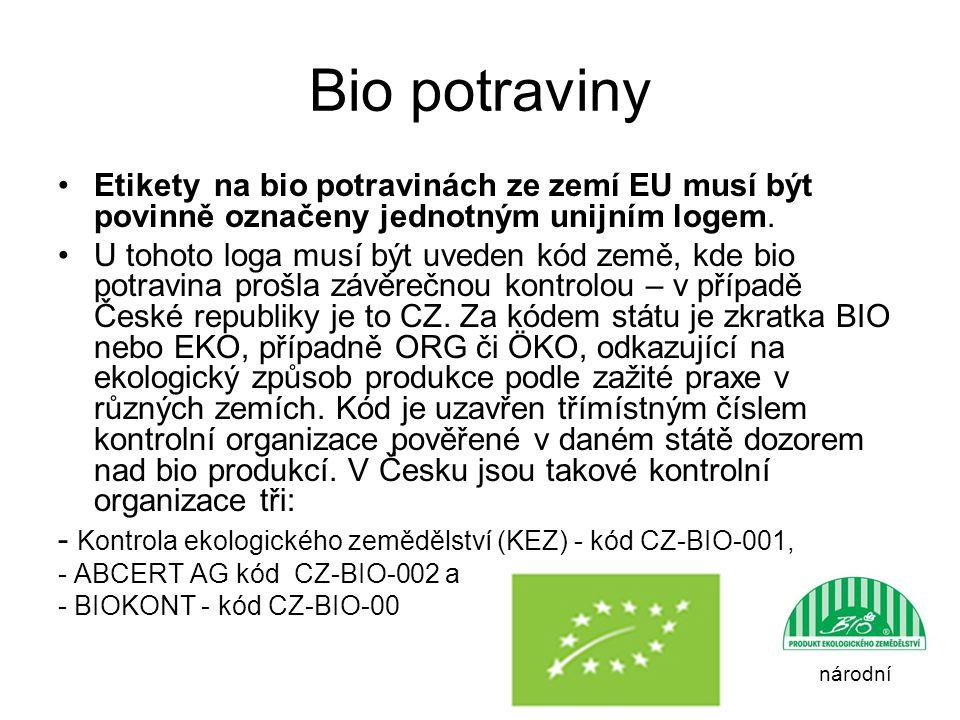 Bio potraviny Etikety na bio potravinách ze zemí EU musí být povinně označeny jednotným unijním logem. U tohoto loga musí být uveden kód země, kde bio
