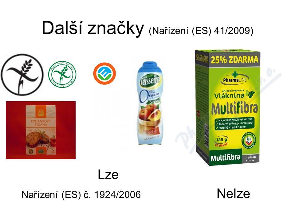 Další značky (Nařízení (ES) 41/2009) Lze Nařízení (ES) č. 1924/2006 Nelze