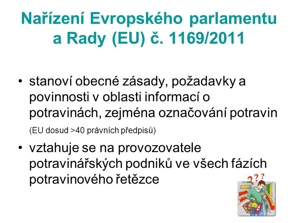 Nařízení Evropského parlamentu a Rady (EU) č. 1169/2011 stanoví obecné zásady, požadavky a povinnosti v oblasti informací o potravinách, zejména označ