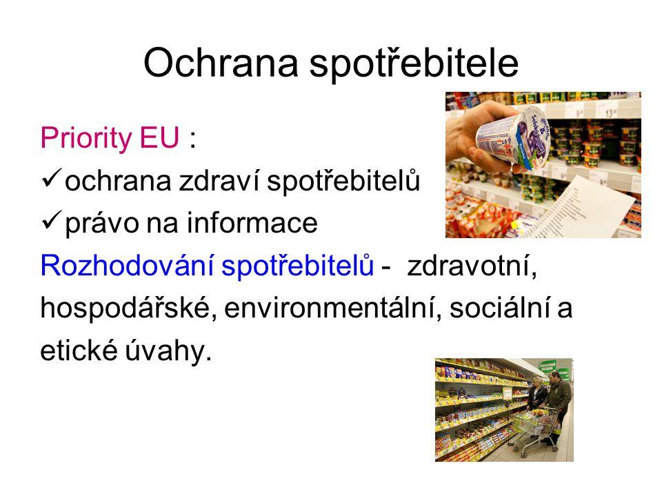 Ochrana spotřebitele Priority EU : ochrana zdraví spotřebitelů právo na informace Rozhodování spotřebitelů - zdravotní, hospodářské, environmentální,
