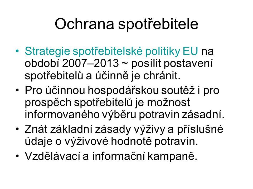 Ochrana spotřebitele Strategie spotřebitelské politiky EU na období 2007–2013 ~ posílit postavení spotřebitelů a účinně je chránit. Pro účinnou hospod