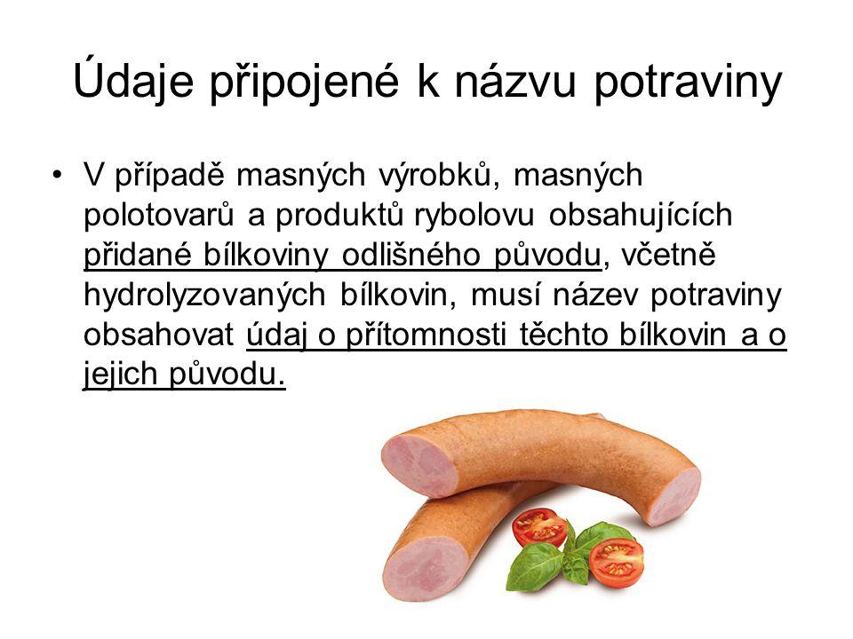 Údaje připojené k názvu potraviny V případě masných výrobků, masných polotovarů a produktů rybolovu obsahujících přidané bílkoviny odlišného původu, v