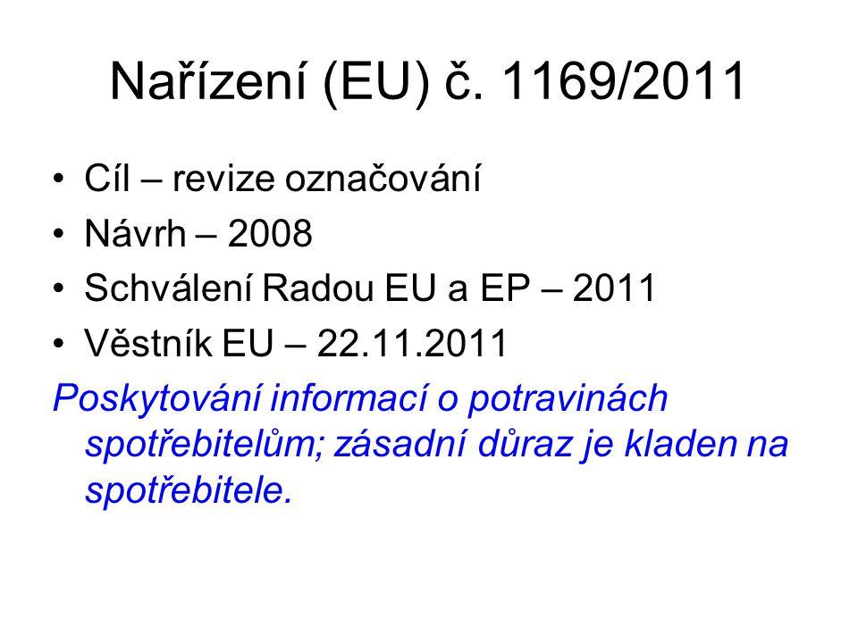 Nařízení (EU) č. 1169/2011 Cíl – revize označování Návrh – 2008 Schválení Radou EU a EP – 2011 Věstník EU – 22.11.2011 Poskytování informací o potravi