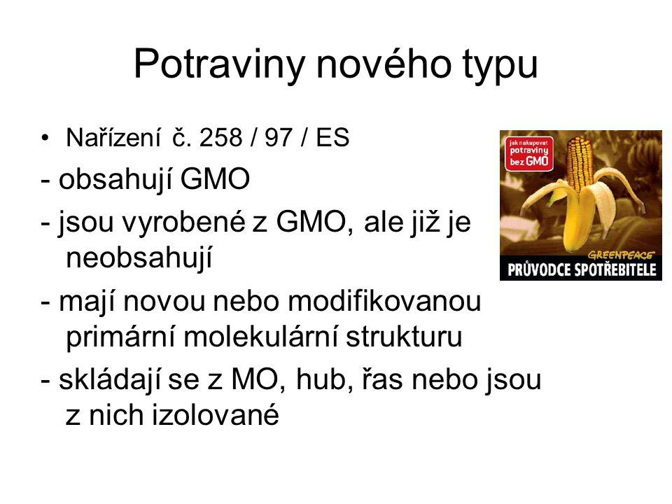 Potraviny nového typu Nařízení č. 258 / 97 / ES - obsahují GMO - jsou vyrobené z GMO, ale již je neobsahují - mají novou nebo modifikovanou primární m