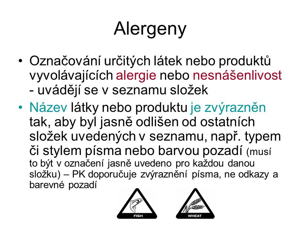 Alergeny Označování určitých látek nebo produktů vyvolávajících alergie nebo nesnášenlivost - uvádějí se v seznamu složek Název látky nebo produktu je