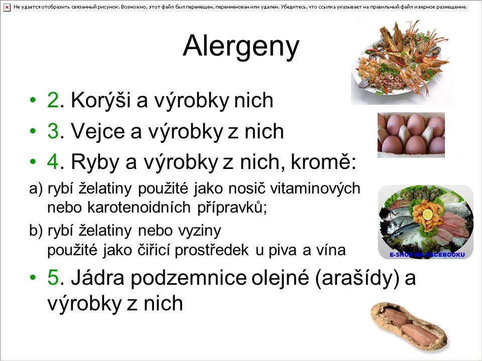Alergeny 2. Korýši a výrobky nich 3. Vejce a výrobky z nich 4. Ryby a výrobky z nich, kromě: a) rybí želatiny použité jako nosič vitaminových nebo kar