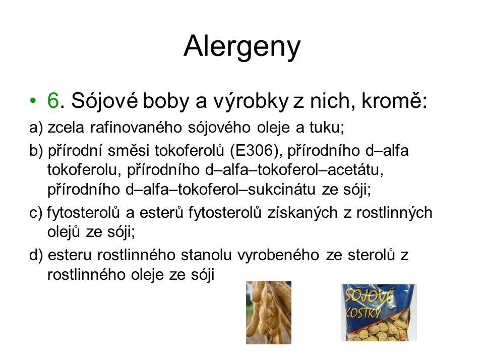 Alergeny 6. Sójové boby a výrobky z nich, kromě: a) zcela rafinovaného sójového oleje a tuku; b) přírodní směsi tokoferolů (E306), přírodního d–alfa t