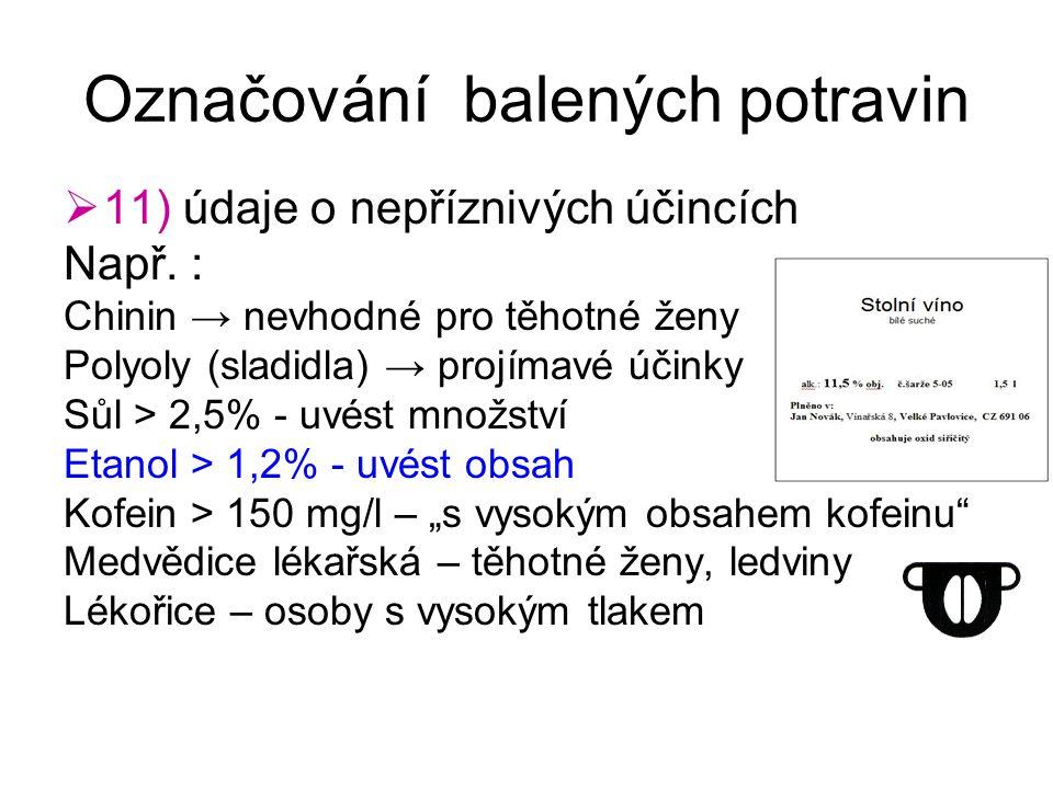 Označování balených potravin  11) údaje o nepříznivých účincích Např. : Chinin → nevhodné pro těhotné ženy Polyoly (sladidla) → projímavé účinky Sůl