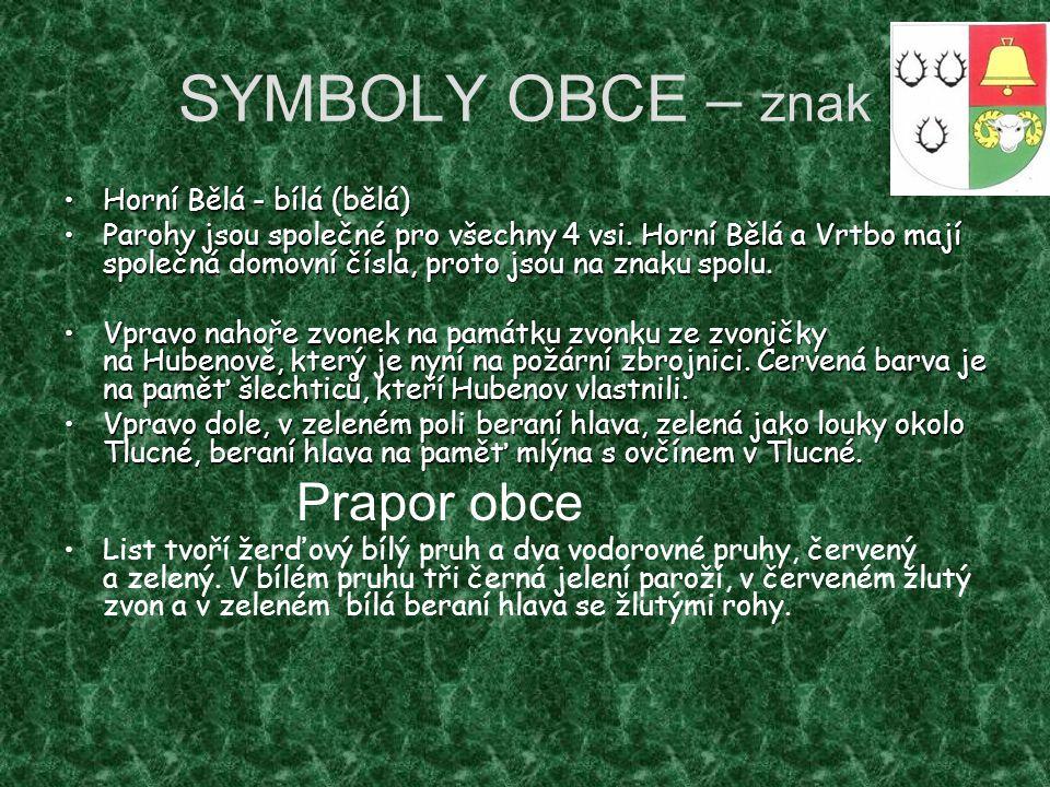 SYMBOLY OBCE – znak Horní Bělá - bílá (bělá)Horní Bělá - bílá (bělá) Parohy jsou společné pro všechny 4 vsi. Horní Bělá a Vrtbo mají společná domovní