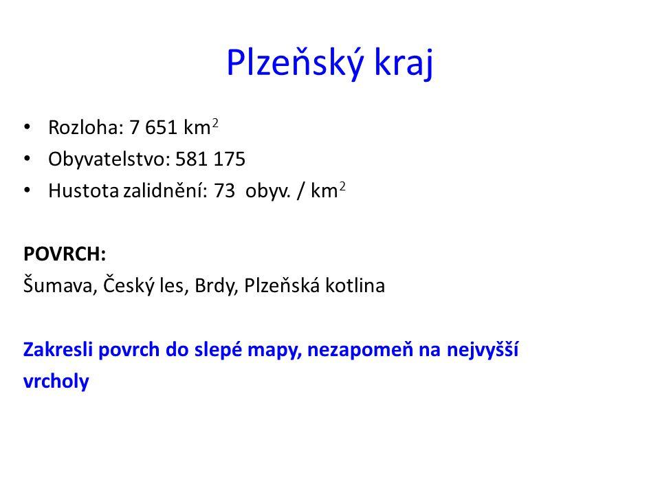 Plzeňský kraj Rozloha: 7 651 km 2 Obyvatelstvo: 581 175 Hustota zalidnění: 73 obyv. / km 2 POVRCH: Šumava, Český les, Brdy, Plzeňská kotlina Zakresli