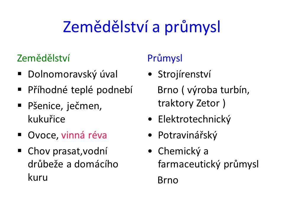 Zemědělství a průmysl Zemědělství  Dolnomoravský úval  Příhodné teplé podnebí  Pšenice, ječmen, kukuřice  Ovoce, vinná réva  Chov prasat,vodní drůbeže a domácího kuru Průmysl Strojírenství Brno ( výroba turbín, traktory Zetor ) Elektrotechnický Potravinářský Chemický a farmaceutický průmysl Brno