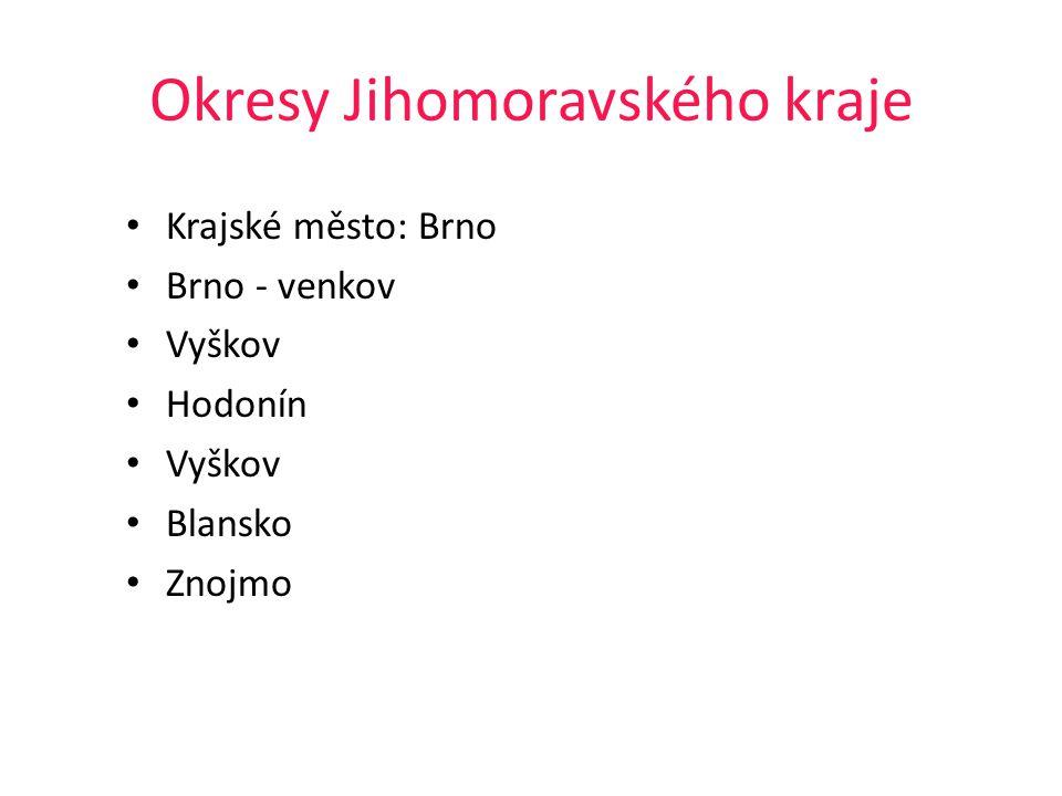 Okresy Jihomoravského kraje Krajské město: Brno Brno - venkov Vyškov Hodonín Vyškov Blansko Znojmo