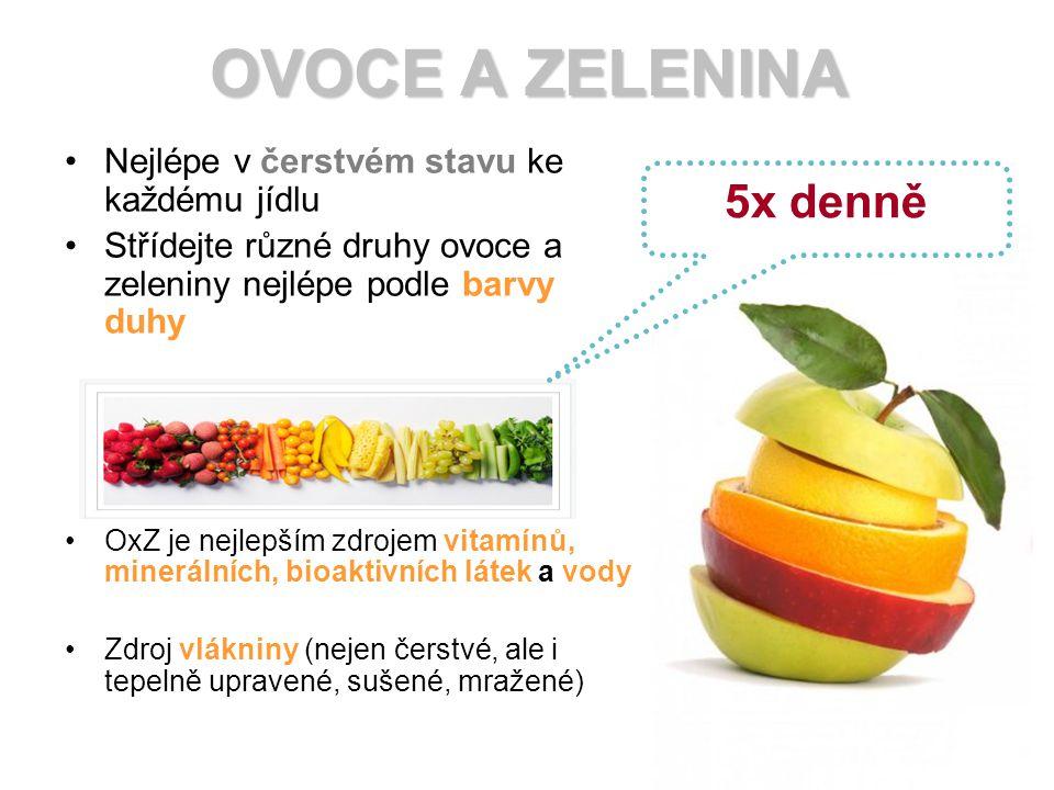 Nejlépe v čerstvém stavu ke každému jídlu Střídejte různé druhy ovoce a zeleniny nejlépe podle barvy duhy OxZ je nejlepším zdrojem vitamínů, minerálních, bioaktivních látek a vody Zdroj vlákniny (nejen čerstvé, ale i tepelně upravené, sušené, mražené) OVOCE A ZELENINA 5x denně