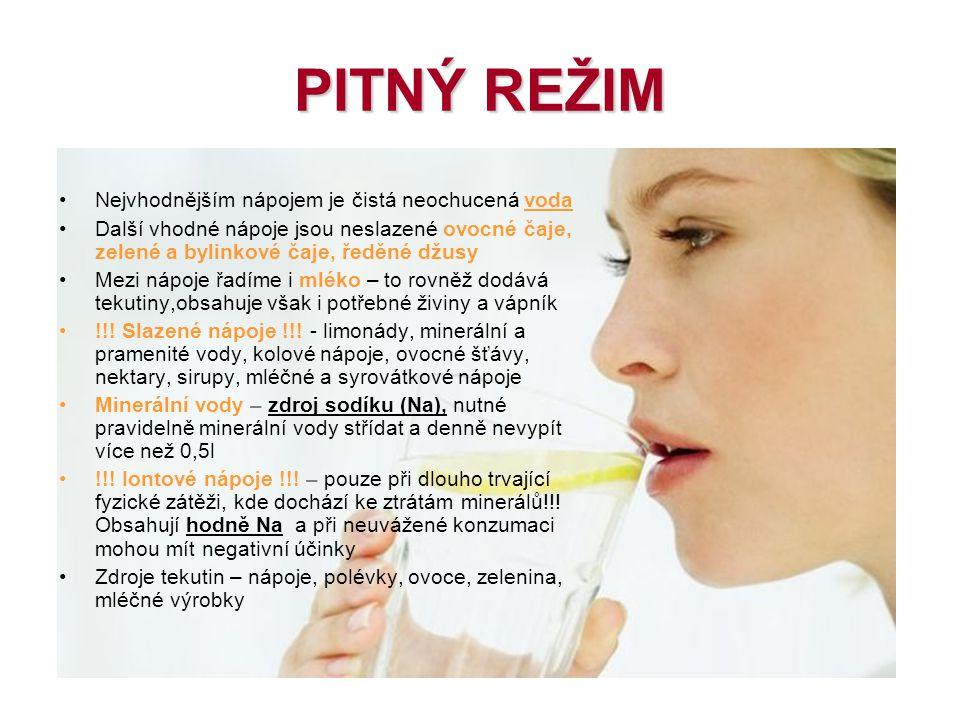 PITNÝ REŽIM Nejvhodnějším nápojem je čistá neochucená voda Další vhodné nápoje jsou neslazené ovocné čaje, zelené a bylinkové čaje, ředěné džusy Mezi