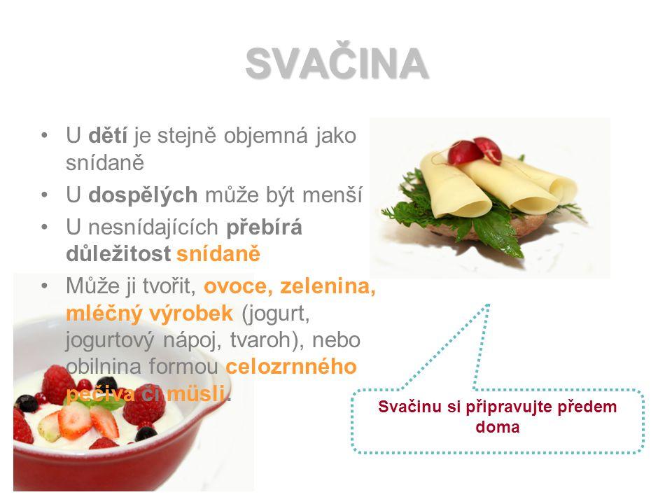SVAČINA U dětí je stejně objemná jako snídaně U dospělých může být menší U nesnídajících přebírá důležitost snídaně Může ji tvořit, ovoce, zelenina, mléčný výrobek (jogurt, jogurtový nápoj, tvaroh), nebo obilnina formou celozrnného pečiva či müsli.