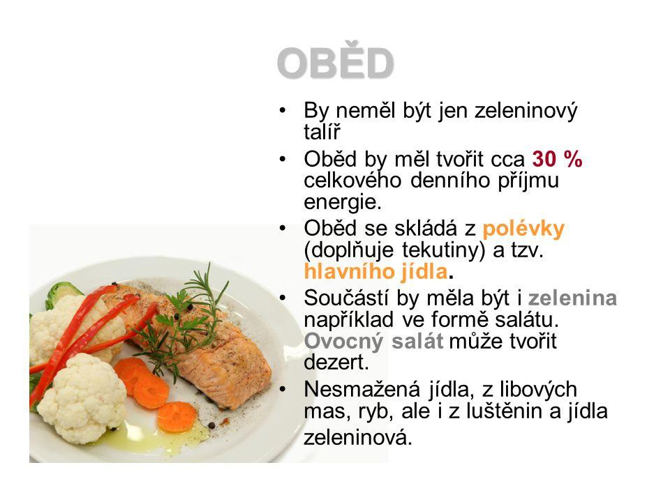 OBĚD By neměl být jen zeleninový talíř Oběd by měl tvořit cca 30 % celkového denního příjmu energie. Oběd se skládá z polévky (doplňuje tekutiny) a tz