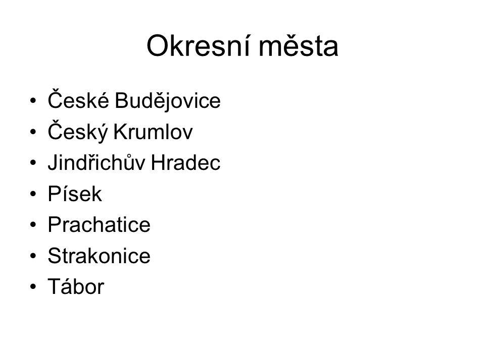 Okresní města České Budějovice Český Krumlov Jindřichův Hradec Písek Prachatice Strakonice Tábor