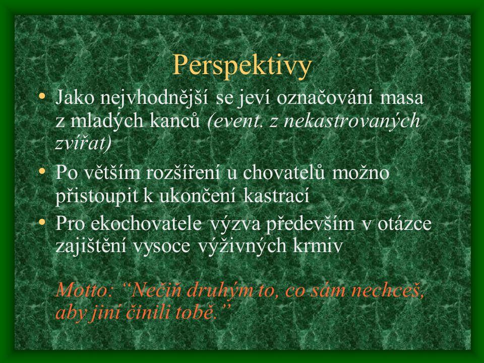 Perspektivy Jako nejvhodnější se jeví označování masa z mladých kanců (event.